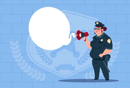 femme policier: Police, femme, planification, action, blanc, tableau, porter, uniforme, femme, garde, bleu, briques, fond, plat, vecteur, Illustration Illustration