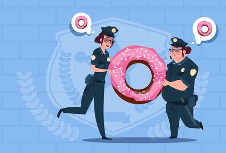 patrol: Two Police Women Holding Donut Wearing Uniform Female Guards On Blue Bricks Background Flat Vector Illustration