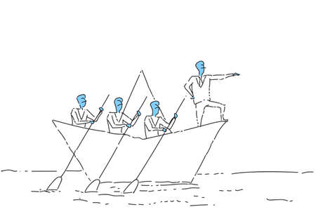 Businessman Leading Business People Team Swim In Paper Boat Teamwork Leadership Concept Vector Illustration  イラスト・ベクター素材