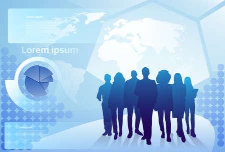 世界地図背景実業家チーム概念ベクトル イラスト歩いてビジネス人々 のシルエットのグループ
