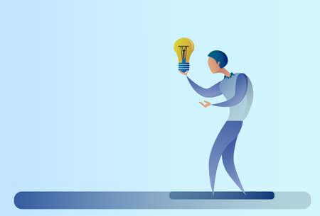 Abstract Business Man New Creative Idea Concept Hold Light Bulb Vector Illustration Illustration