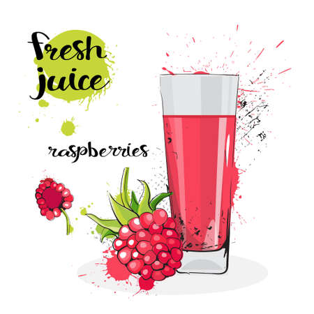 Raspberry Juice Fresh Hand Drawn Watercolor Fruits And Glass On White Background Vector Illustration