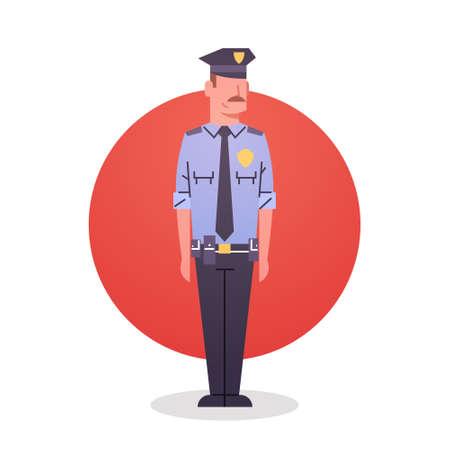 american hero: Policeman Icon Male Cop Guard Security Flat Vector Illustration Illustration