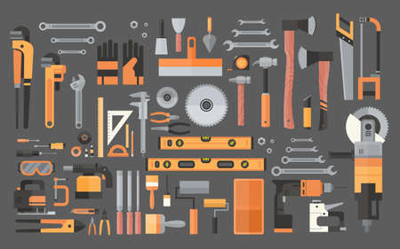 Set Of Repair And Construction Working Hand Tools, Equipment Collection Flat Vector Illustration