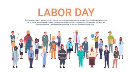 Conjunto de ocupación diferente del grupo de personas, Ilustración de Vector plano del día internacional del trabajo Ilustración de vector