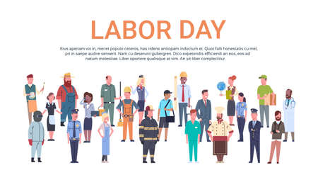 People Group Different Occupation Set, International Labor Day Flat Vector Illustration Vectores