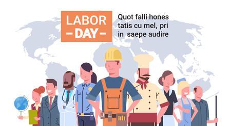 De mensen groeperen Verschillend Beroep over Wereldkaart, Internationale Dag van de Arbeid, Internationale Dag van de Arbeid Vlakke Vectorillustratie Stock Illustratie