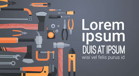 Set Of Repair And Construction Working Hand Tools, Equipment Collection Over Copy Space Flat Vector Illustration