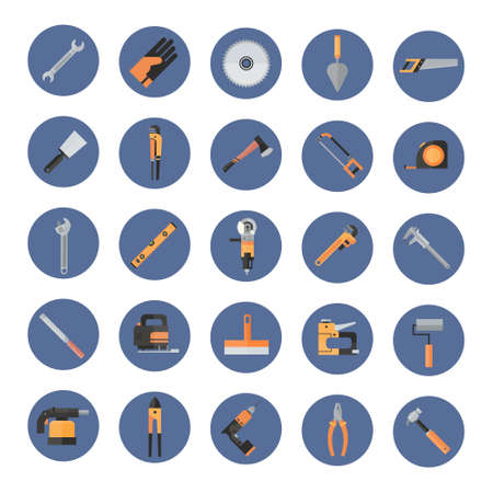 drill: Set Of Repair And Construction Working Hand Tools, Equipment Collection Icons Flat Vector Illustration Illustration