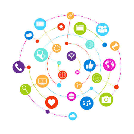 Social Media Icons Connected With Lines On White Background Network Communication Concept Vector Illustration