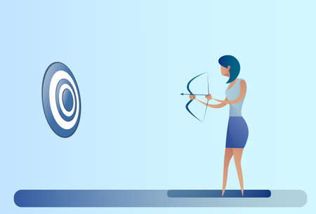 Business Woman Hold Bow Aim Archer Get Goal Concept Vector Illustration Illustration