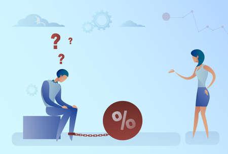 debtor: Woman Talk To Business Man Chain Bound Legs Credit Debt Finance Crisis Concept Flat Vector Illustration