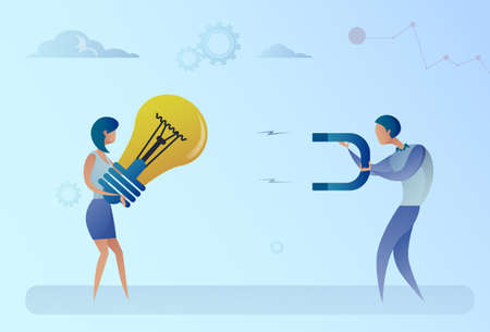 Business Man Stealing Light Bulb Idea From Woman Holding Magnet Concept Flat Vector Illustration