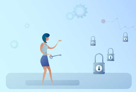Business Woman Hold Key Choosing Lock Opportunity Decision Concept Flat Vector Illustration Illustration