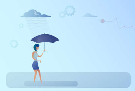 bad weather: Business Woman Hold Umbrella Stand Rain Protection Security Concept Flat Vector Illustration