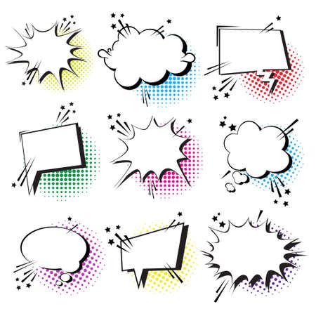 Chat Bubble Icon Set Pop Art Style Social Media Communication Flat Vector Illustration