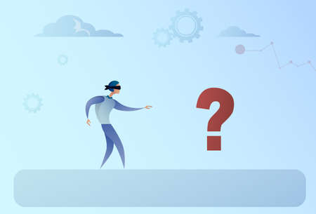 pondering: Business Man Blind Walking To Question Mark Crisis Risk Concept Flat Vector Illustration