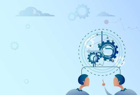 mechanism of progress: Two Business Man Point Finger On Cog Wheel Businessman Brainstorming Process Flat Vector Illustration Illustration