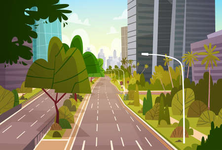 City Street Skyscraper Buildings View Modern Cityscape Empty Downtown Flat Vector Illustration Vectores