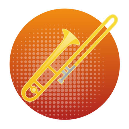 Trombone Icon Wind Music Instrument Concept Flat Vector Illustration