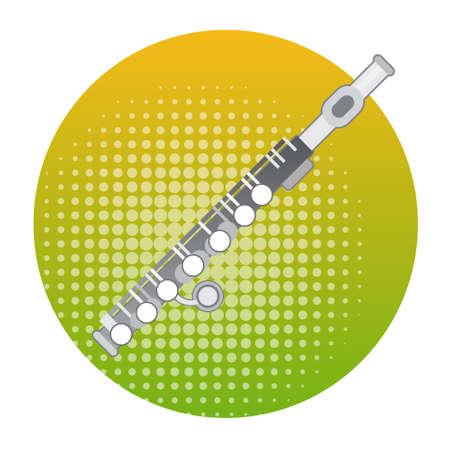 Flute Icon Wind Music Instrument Concept Flat Vector Illustration Illustration