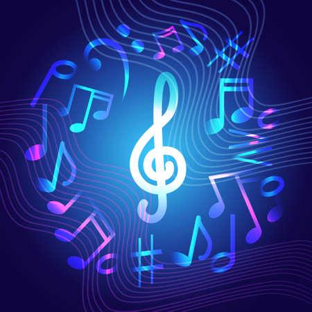 노트 음악 콘서트 배너 다채로운 현대 뮤지컬 포스터 플랫 벡터 일러스트 레이션
