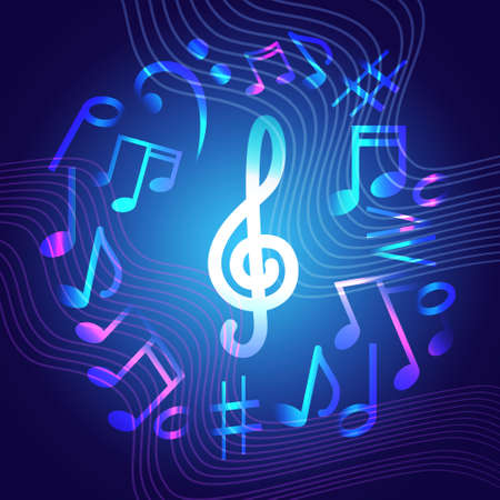 Notes Music Concert Banner Colorful Modern Musical Poster Flat Vector Illustration