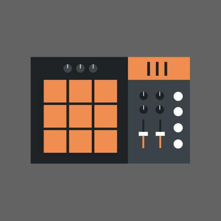 Music Mixer Icon Sound Studio Equalizer System Concept Flat Vector Illustration