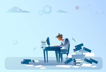 Der Geschäftsmann, der an Computer arbeitet, überlastete Dokumenten-Schreibarbeit-Problem-Konzept-flache Vektor-Illustration