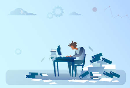 Business Man Working On Computer Overloaded Documents Paperwork Problem Concept Flat Vector Illustration Vectores