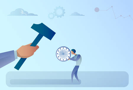 working hours: Hand Hitting Businessman Holding Clock With Hammer Flat Vector Illustration