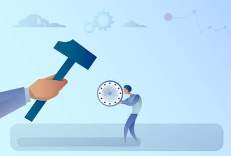 Hand Hitting Businessman Holding Clock With Hammer Flat Vector Illustration