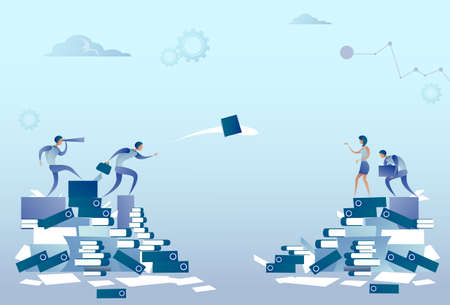 Geschäftsleute Gruppe auf Dokumente Stapel Papierkram Konzept Konzept flache Vektor-Illustration