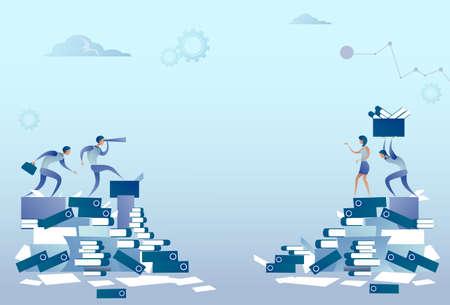 Grupo de personas de negocios en documentos Pila de papeleo Problema de concepto Ilustración vectorial plana