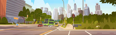 office building: City Street Skyscraper Buildings Road View Modern Cityscape Singapore Downtown Flat Vector Illustration