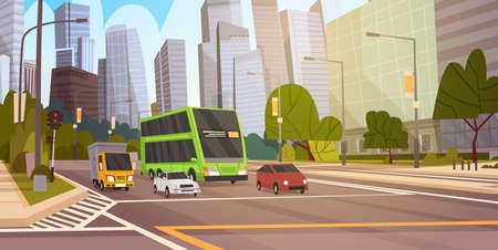 City Street Skyscraper Buildings Road View Modern Cityscape Singapore Downtown Flat Vector Illustration