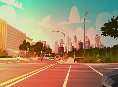 스카이 스크래퍼 건물 및 도로가있는 도시 거리