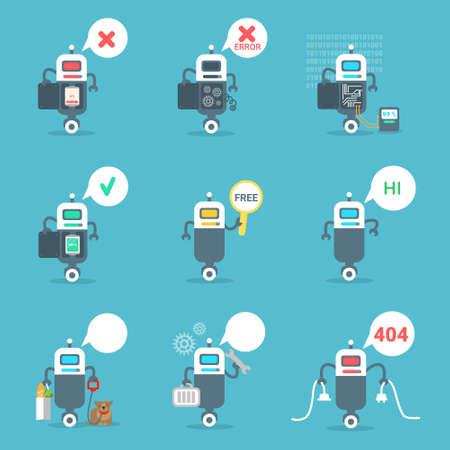 Robots modernes Icons Set Chat Bot Intelligence artificielle Technologie Concept Illustration vectorielle plane Vecteurs