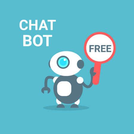Modern Robot Free Chat Bot Artificial Intelligence Technology Concept Flat Vector Illustration
