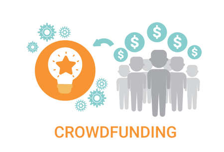 Crowdfunding Crowdsourcing Business Resources Idea Sponsor Investment Icon Illustration Illustration