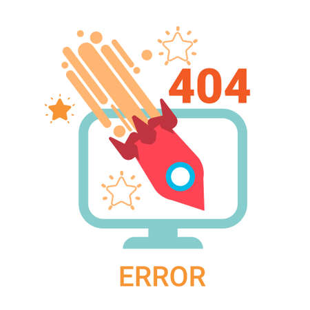 Error Icon 404 Not Found Broken Message Banner Flat  Illustration