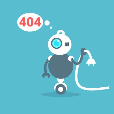funny robot: Modern Robot Connection Error Message Artificial Intelligence Technology Concept Flat Illustration