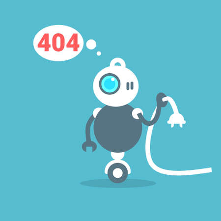 Modern Robot Connection Error Message Artificial Intelligence Technology Concept Flat Illustration