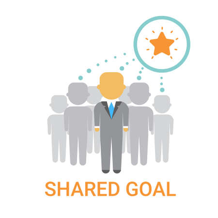 Shared Goal Businesspeople Team Cooperation Icon Business Banner Flat Illustration