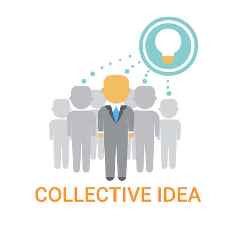 Collective Idea Businesspeople Team Cooperation Icon Business Banner Flat Illustration