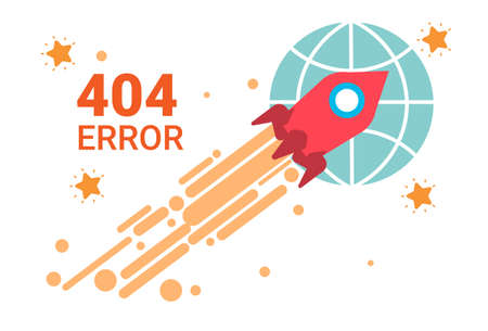 Error Icon 404 Not Found Broken Message Banner Flat Vector Illustration Illustration