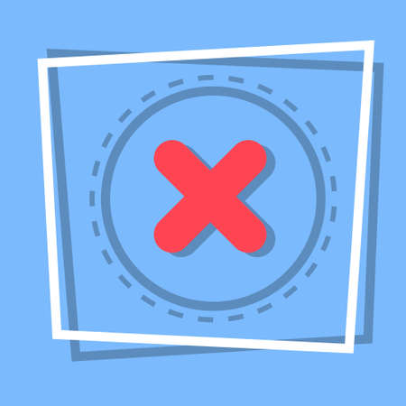 X Icon Cross Decline Button Interface Concept Flat Vector Illustration