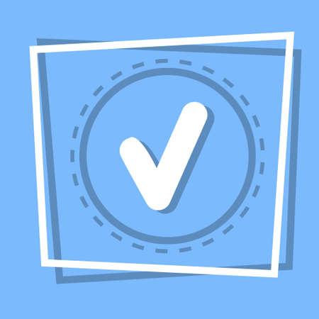 checklist: Check Point Icon Tick Web Button Flat Vector Illustration