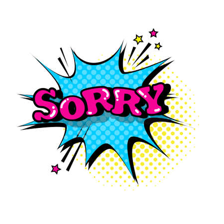 Comic Speech Chat Bubble Pop Art Style Sorry Expression Text Icon Vector Illustration