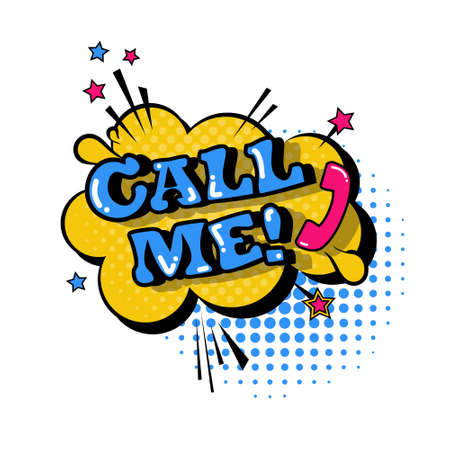 Comic Speech Chat Bubble Pop Art Style Call Me Expression Text Icon Vector Illustration